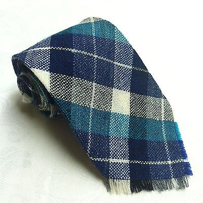 1940s Mens Ties | Wide Ties & Painted Ties White & BLUE PLAID 100% WOOL NECK TIE Woven by Indians Antique 1940s Collector $65.60 AT vintagedancer.com
