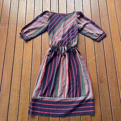 80s Dresses | Casual to Party Dresses Vintage Size 10 Tea Dress Striped The Dress Company Melbourne Cocktail W Belt $48.68 AT vintagedancer.com