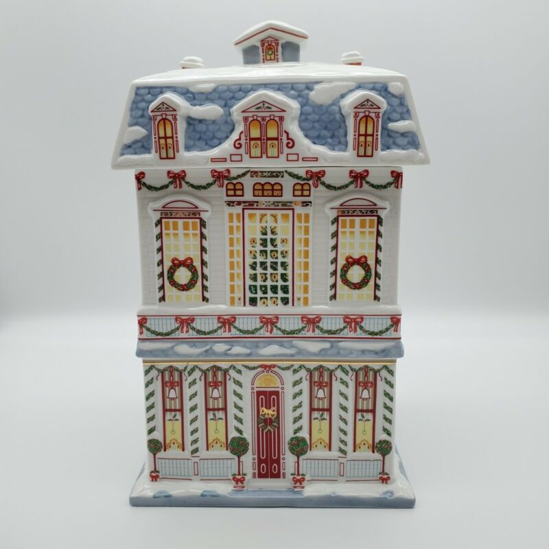 LENOX VILLAGE COLLECTION CHRISTMAS COOKIE JAR Canister 1990
