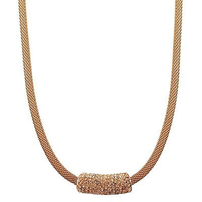 Rose Gold Finish with Champagne Crystals Mesh Necklace