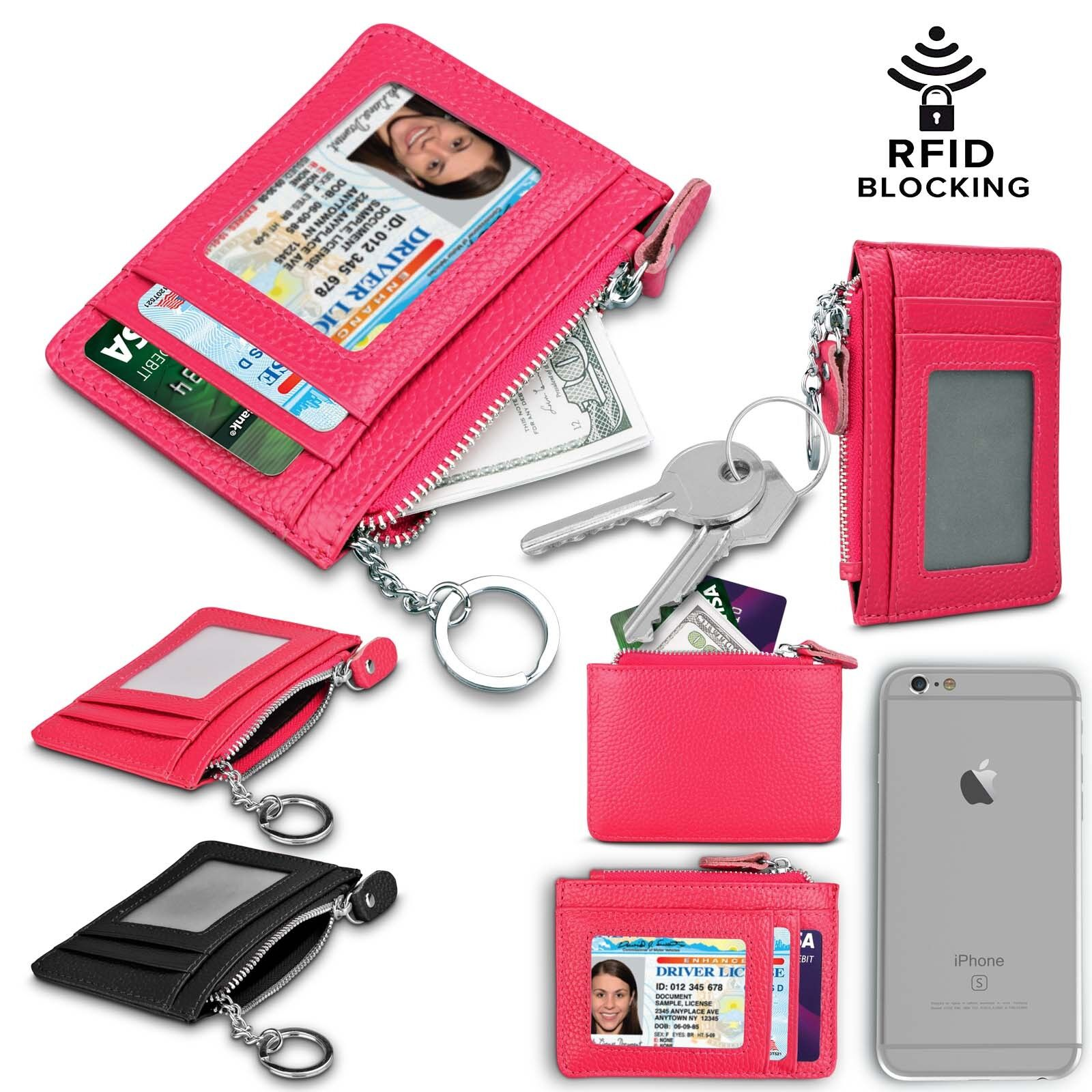 Slim Minimalist Thin Front Pocket RFID Blocking Leather Wall