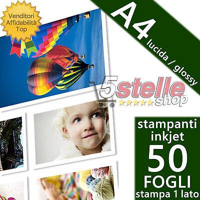 50 FOGLI CARTA FOTOGRAFICA A4 PREMIUM FOTO GLOSSY LUCIDA PER STAMPANTI INKJET