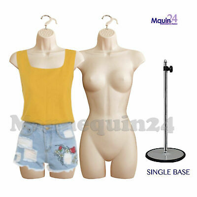 2 Flesh Mannequin Female Torso Dress Forms 1 Table Top Stand 2 Hangers