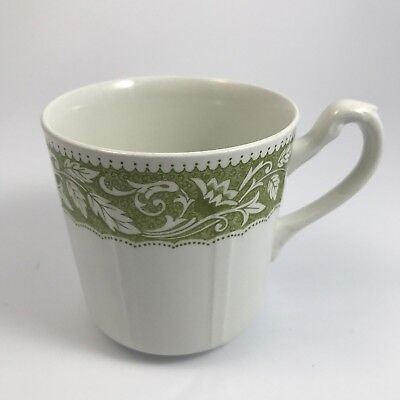 "J & G MEAKIN ""RENAISSANCE GREEN"" MUG CUP WHITE w/ GREEN LEAF & FLOWERS - ENGLAND for sale  Northville"