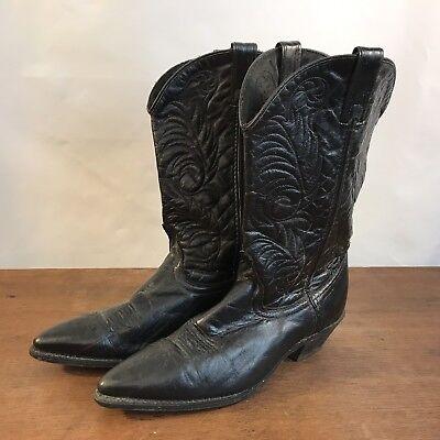 Vintage ACME Black Western Cowboy Boots Womens Size 9M