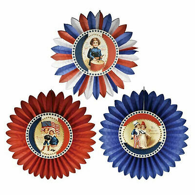 Bethany Lowe 4th Of July American Paper Rosette Circle Center Pieces Table Decor (4th Of July Table Centerpieces)