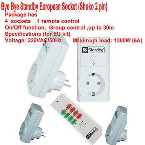 4 pack Bye Bye Standby Remote control European Socket (Shuko 2 pin) + remote