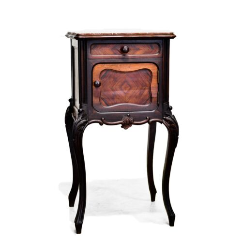 Antique French Louis XV Style Rosewood Marble Top Night Stand Nightstand