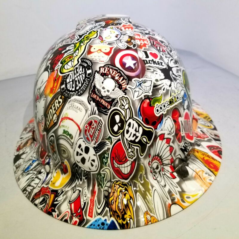 Hard Hat custom hydro dipped , OSHA approved FULL BRIM, WILD STICKER BOMB NEW