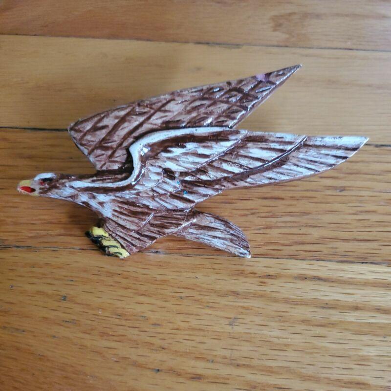 Boy Scouts BSA Vintage Hand Painted Ceramic Bald Eagle Neckerchief Slide  RARE