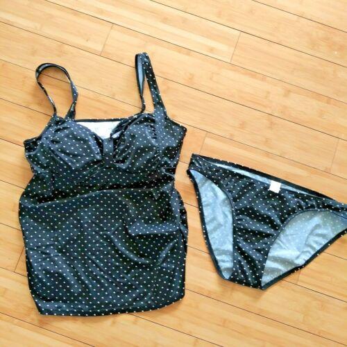 MOTHERHOOD Maternity Tankini 2 Piece Swimsuit Bathing Suit Polka Dot Black Large