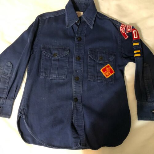 Vintage Official BSA Cub Scout shirt Sanforized y med neck 11 1/2 Wooster Ohio