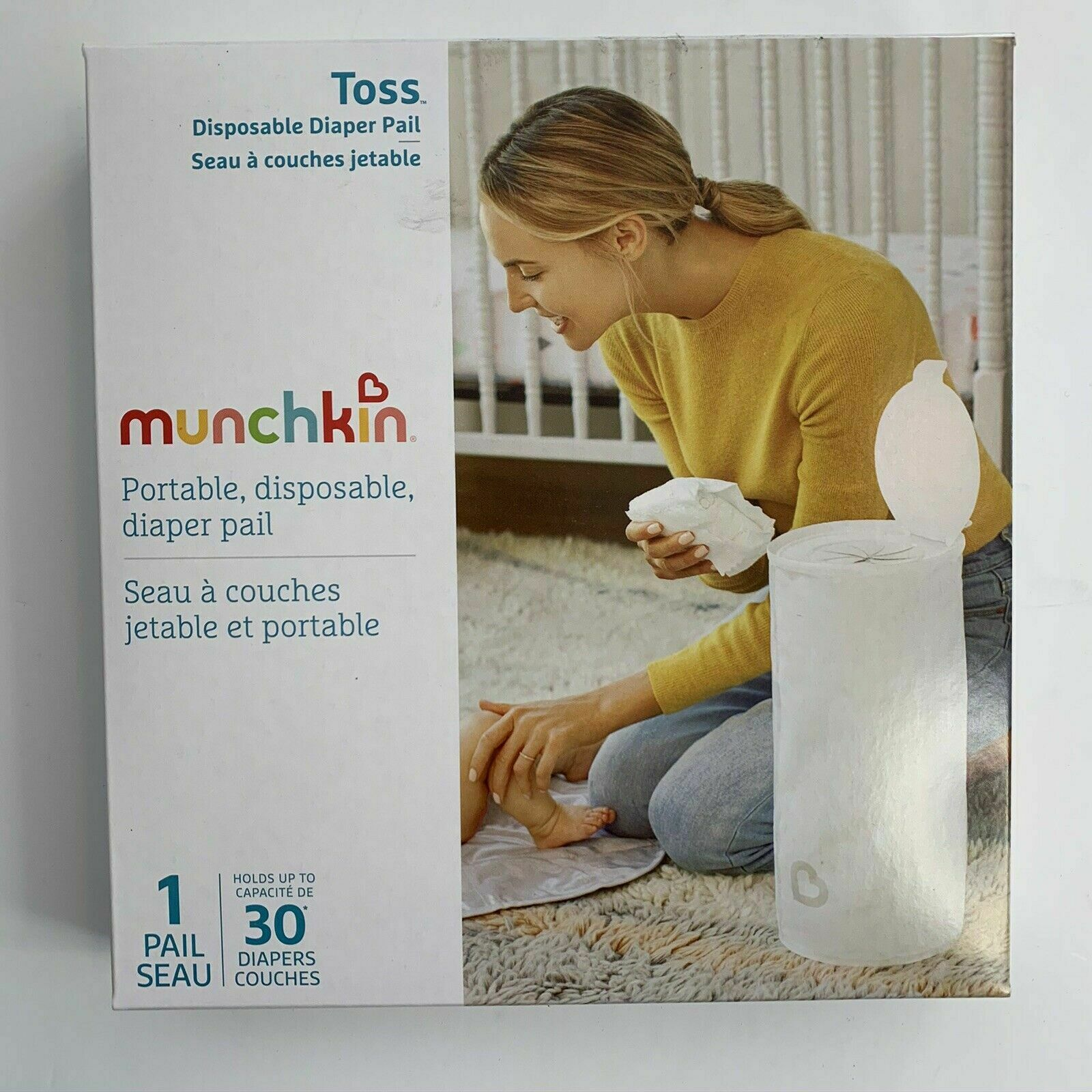 Munchkin Portable, Disposable Diaper Pail New In Box - 1 Pail Holds 30 Diapers - $7.95