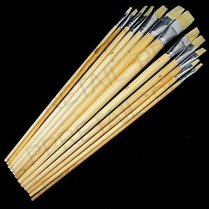 ARTIST PAINT BRUSH SETS Small/Large Wooden Acrylic/Oil/Watercolour Thin Thick