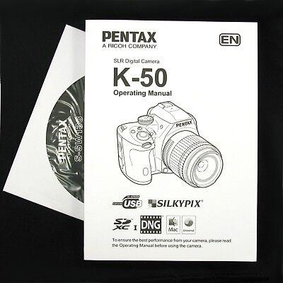 Pentax K-50 Digital Camera Operating Manual / Instruction Book & CD-ROM #QF4 NEW