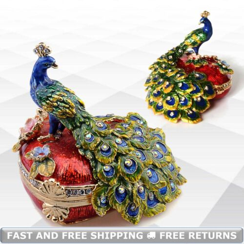 Peacock Bird Pewter Jewelry Trinket Box With Hinged Lid Enamel Jeweled Crystals