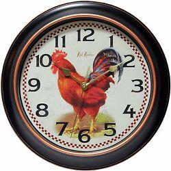 Infinity Instruments Rotterdam 12 Silent Rooster Wall Clock Chicken Hen Kitchen
