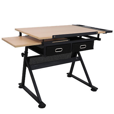 Drafting Drawing Table Tiltable Tabletop, Adjustable Height, Edge Stopper Art Supplies