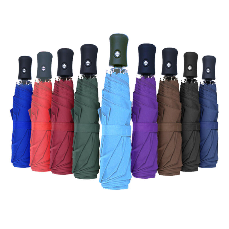 Folding Plain Sun Windproof Automatic Compact Rain Umbrellas