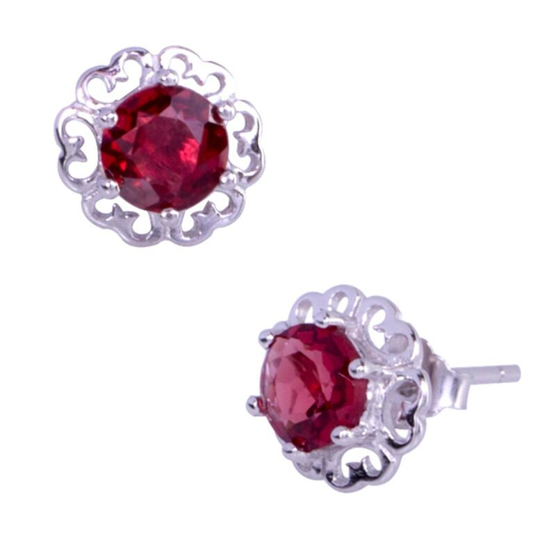 .925 Sterling Silver Round Garnet Flower Stud Earrings