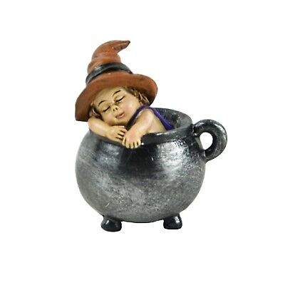 Mini Sleeping Baby Witch In Cauldron Halloween Home Garden Decor Figurine Gift](Mini Halloween Cauldrons)