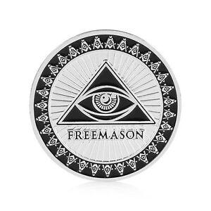 USA-1-Oz-999-Silver-Plated-Commemorative-Masonic-Freemason-coin-Sealed-amp-UNC