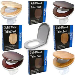 HYGENIC TOILET SEAT SOLID WOOD OR PLASTIC CHROME FITTING HEAVY DUTY BATHROOM