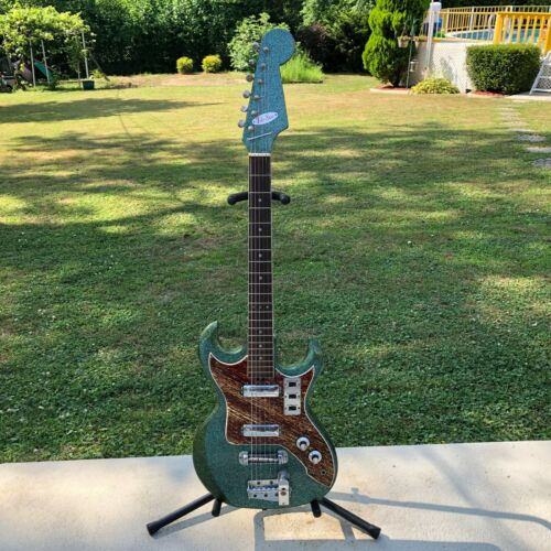 Vintage MIJ Teisco Telestar Aquamarine Sparkle Electric Guitar