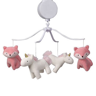 Bedtime Originals Rainbow Unicorn and Fox White/Coral Musical Baby Crib Mobile