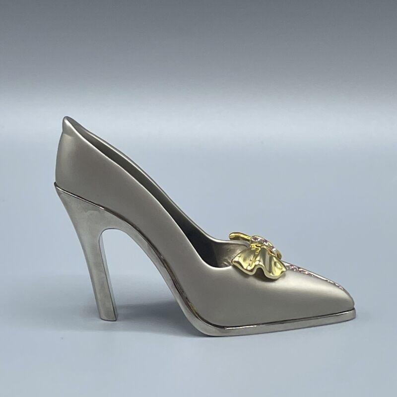 JuJu Palais Royale Swarovski Crystal Shoe - CHRISTINE- Brushed Silver and Pink