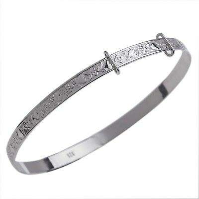 925 Silver Plated Kids Girls Expandable Bracelet Bridesmaid Gift Bangle 55mm