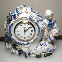 Vintage Linden Porcelain China Wind Alarm Clock Looks and Works Great