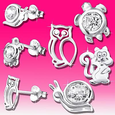 Ohrringe für Kinder Damen Mädchen Ohrstecker echt Silber 925 er Eule Schnecke  (Ohrringe Für Kinder)