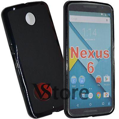 Case Cover for Motorola Nexus 6 Gel Silicone TPU Case Black+Film