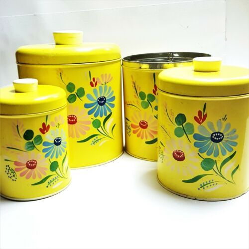 Vintage 4 Ransburg Hand Painted Floral Sunny Yellow Metal Canisters Matching Set