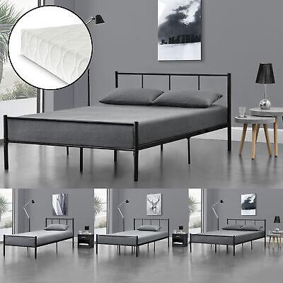 Metallbett mit Matratze 90/120/140x200cm Schwarz Bettgestell Design Bett Metall