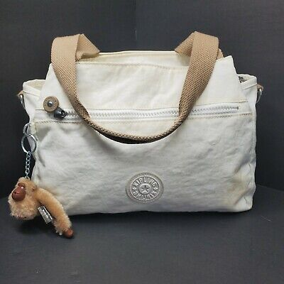 Kipling White Nylon Bag Purse Shoulder Satchel Marlee Monkey Attached
