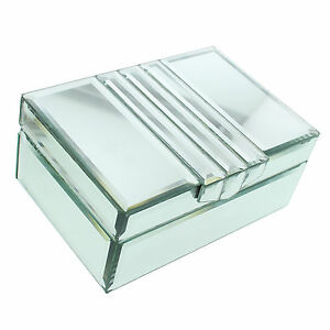 HESTIA ART DECO STYLE MIRRORED GLASS JEWELLERY /TRINKET BOX GIFTS FOR HER