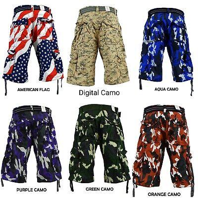 Men's FOCUS Army Camo Cargo Shorts Sizes: 30 - 44 ()