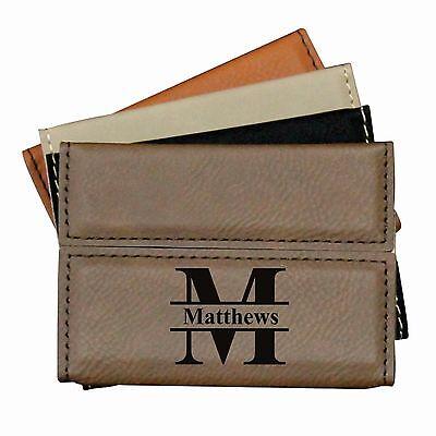 Custom Leather Business Card Case Holder- Engraved Office Gift for Men/Women