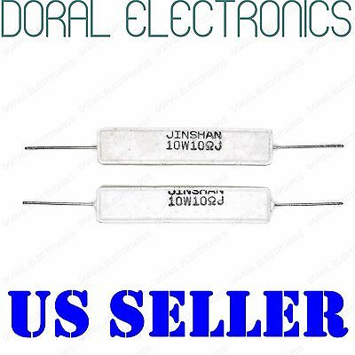 2x 10w 10 Ohm 10r 5 Ceramic Cement Power Resistor New 10ohm 10 W 10watt Watt