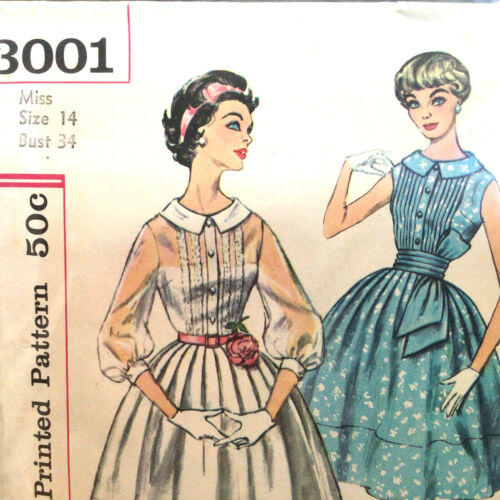 Full Skirt Pleated Dress Cummerbund Size 14 Vtg Sewing Pattern Simplicity 3001