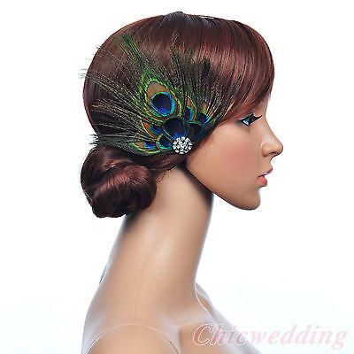 Vintage Peacock Feather Bridal Hair Flower Rhinestone Fascinators Hairclips