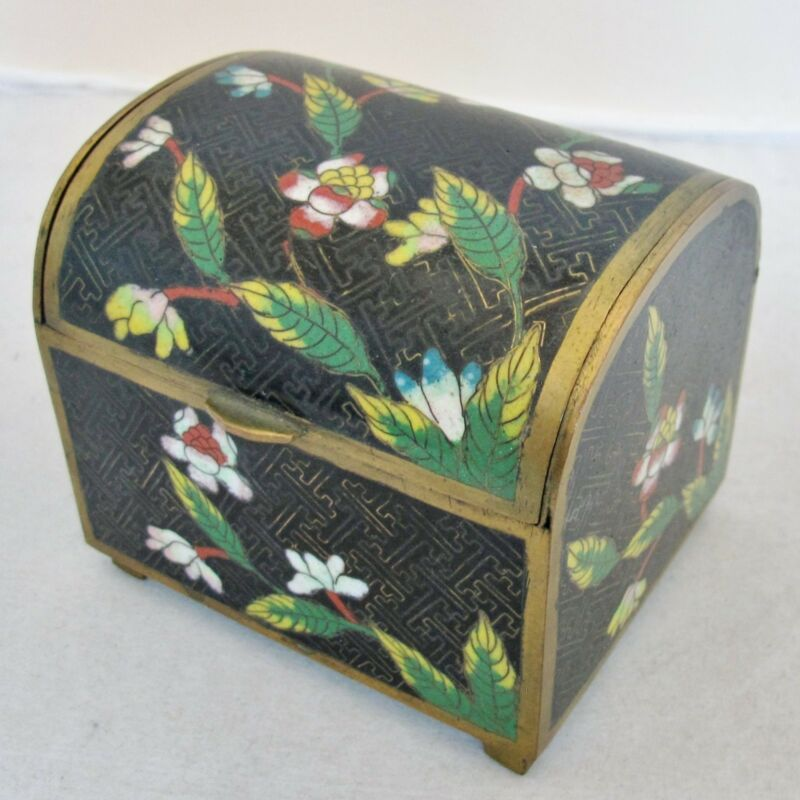 "3.5"" Antique Chinese Black Cloisonne Heavy Domed Trinket or Cigarette Box"