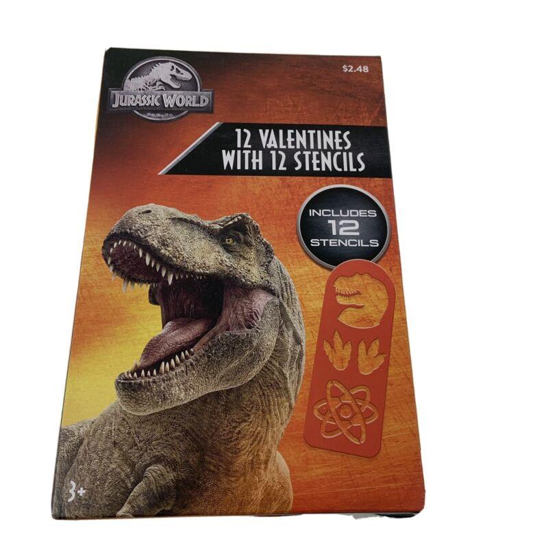 12 Jurassic World Stencil Classroom Valentine Exchange Cards Dinosaur