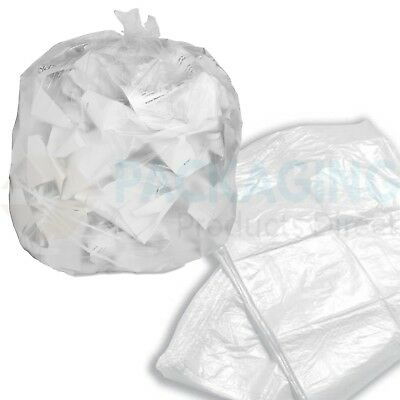 1000 x Refuse Sacks CLEAR Bags Bin Liner Rubbish Waste Recycling Bags 18x29x39