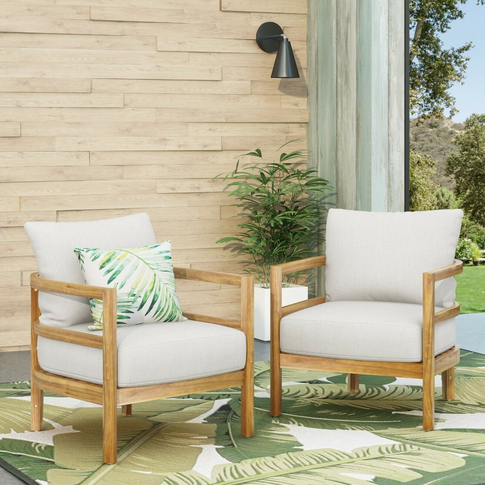 Aggie Outdoor Acacia Wood Club Chair with Cushion, Set of 2, Teak and White Home & Garden