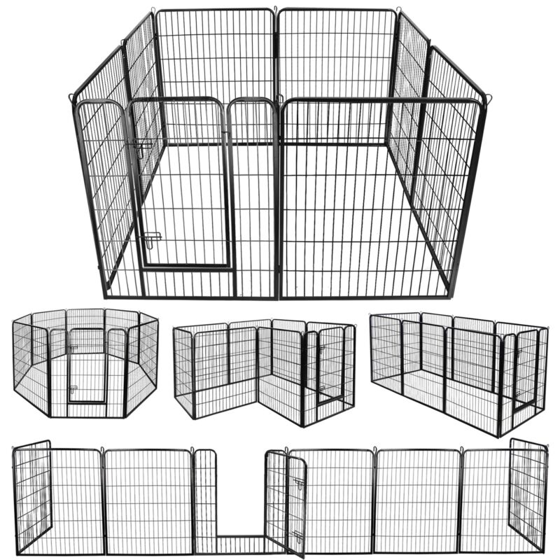 "96"" x 39"" Safety 8 Panel Dog Playpen Exercise Fence Cage Enclosure Kennel W/Door"