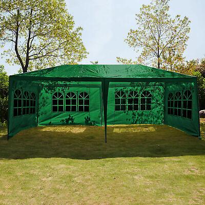 3x6M Waterproof Marquee Canopy w/Sides Heavy Duty Gazebo Garden Party Tent Green