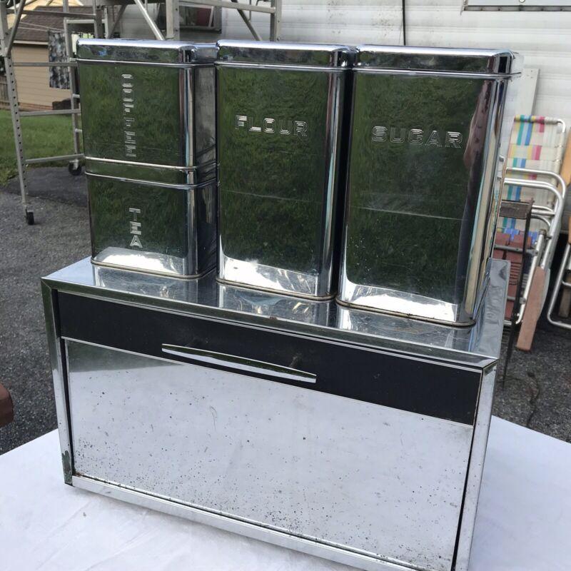 VTG Lincoln Beauty Ware Chrome 4 pc Canister Set & Masterware Breadbox Metal